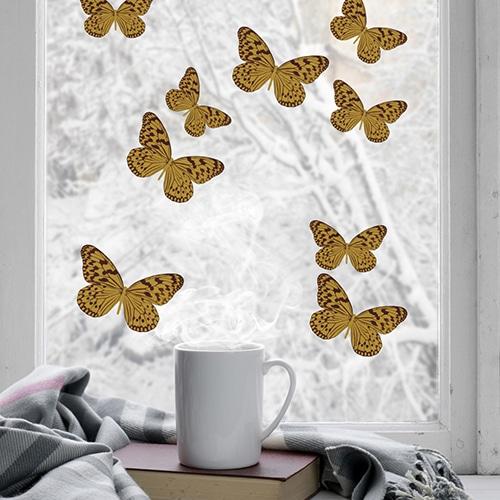 Sticker Papillons jaune pour vitres