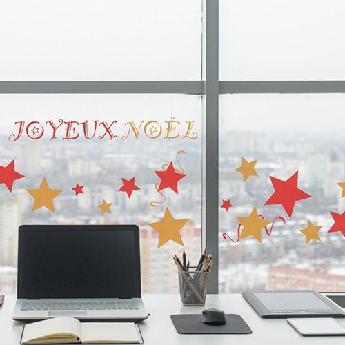 Sticker électrostatiques pour vitres et fenêtres Joyeux noël rouge et or