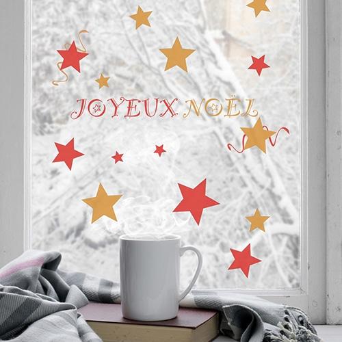 Stickers électrostatiques pour vitres et fenêtres joyeux noël Rouge et or