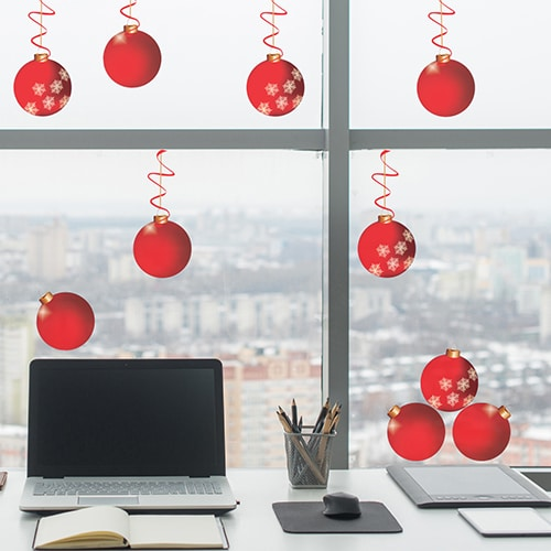 Déco de Noël et fêtes de fin d'année - déco de vitres boules rouge pour vitres et vitrages