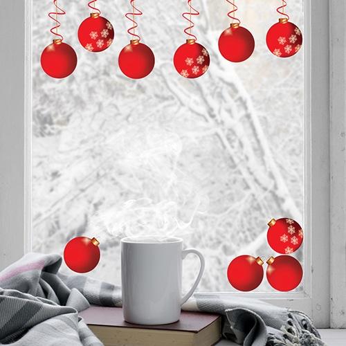 Sticker déco boules de Noël pour vitres et vitrages.