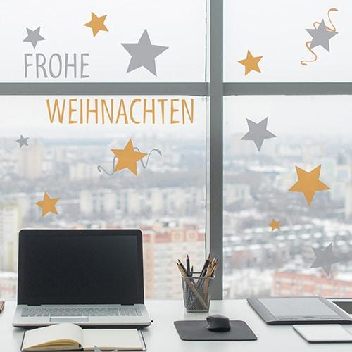 Stickers déco pour vitres et fenêtres Frohe Weihnachten argent et or pour fenêtre de Noël en allemand