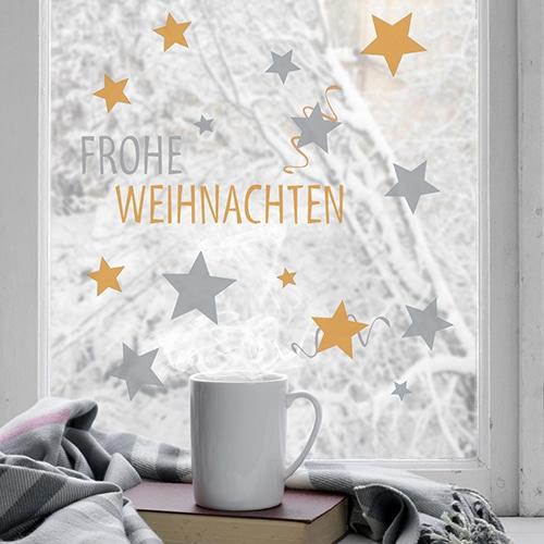 Déco électrostatiques pour fenêtres et vitres fenêtres Frohe Weihnachten argent et or