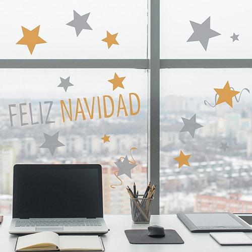 stickers électrostatique pour fenêtres et vitres Merry Christmas décoration intérieure
