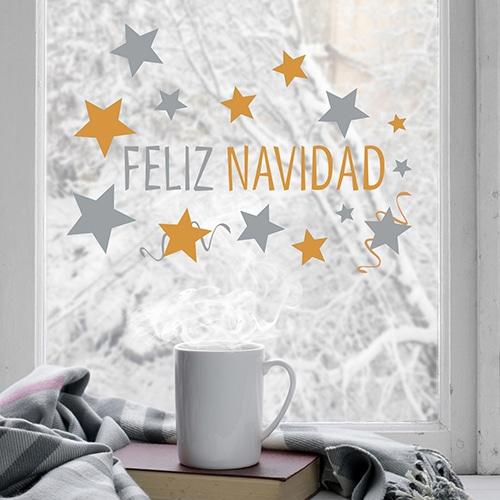 Déco de No¨éle électrostatiquepour fenêtres feliz navidad pour noël en espagnol