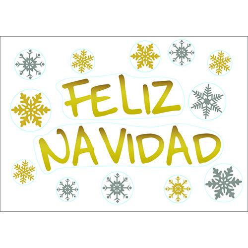 Stickers électrostatiques pour vitres et fenêtres déco noël feliz navidad doré