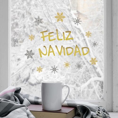 Déco de vitres électrostatiques pour Noël fenêtre Feliza navidad dorée décoration de noël