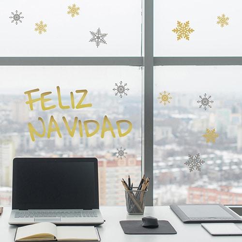 Stickers déco pour vitres et fenêtre feliz navidad décoration de noël électrostatiques pour surfaces vitrées.
