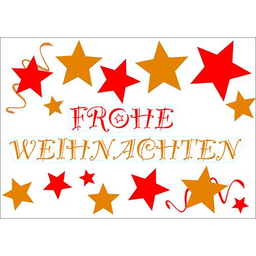 Décor électrostatique Joyeux Noel (allemand) rouge et or pour vitres et fenêtres - déco Noel