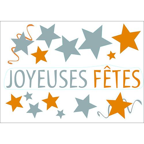 Sticker autocollant Joyeuses Fêtes argenté et doré
