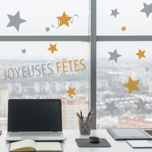 Déco électrostatiques pour vitres et fenêtres Joyeuse Fêtes mis en ambiance dans un bureau