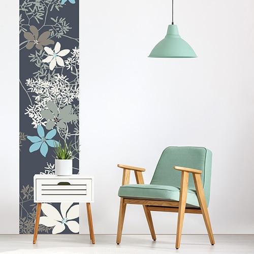 Sticker Fleurs de Chine pour salon sur mur blanc
