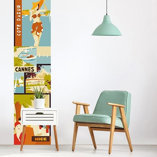 Sticker Affiche Côte d'Azur pour déco salon