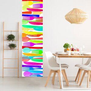 Papier peint adhésif déco Couverts pop pour déco salle à manger