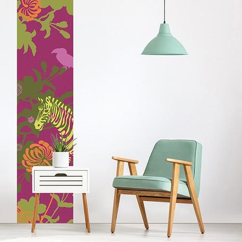 Sticker Savane Violette pour salon blanc
