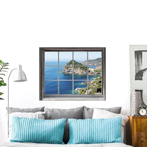 Sticker adhésif fausse fenêtre Mer du Sud pour déco murale