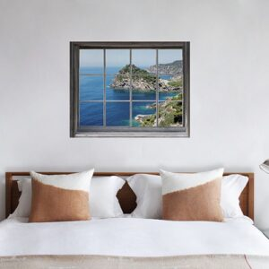 Agrandir la chambre grâce à un adhésif fenêtre en bois trompe l'oeil vue sur Mer du Sud.