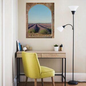 Adhésif déco fenêtre de type lucerne de mas en trompe-l'oeil Champs de Lavande pour décorer votre coin bureau