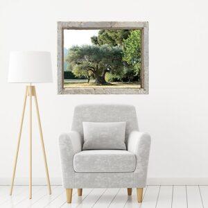 Adhésif trompe l'oeil fenêtre Oliveraie dans un salon