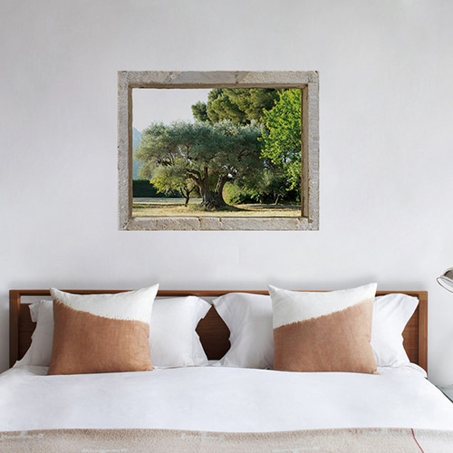 Sticker adhésif de fausse fenêtre avec un paysage d'Oliveraie de Provence dans une chambre
