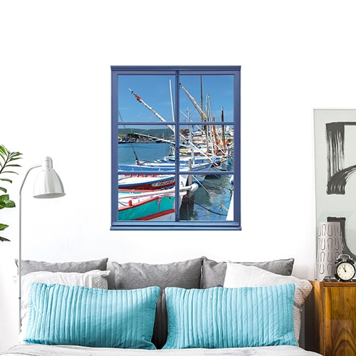 sticker fausse fenêtre adhésive avec vue sur un port de pêche en trompe-l'oeil parfait pour une déco marine réussie.