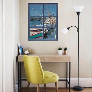 Adhésif mural fausse fenêtre avec vue sur un port de pêche mis en ambiance devant un bureau à la maison.