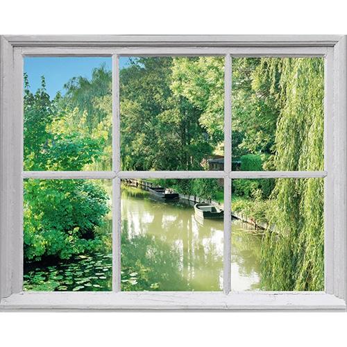 Adhésif trompe l'oeil fenêtre avec vue sur Etang de campagne
