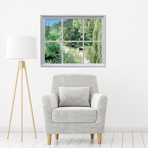 Sticker fausse fenêtre paysage Etang de campagne dans un salon