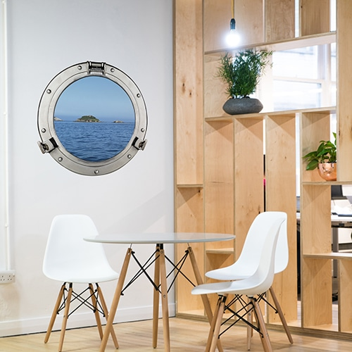 sticker fenêtre hublot de bateau au-dessus de meubles design