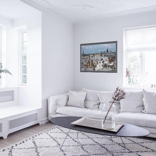 sticker Toits de Paris dans un salon blanc