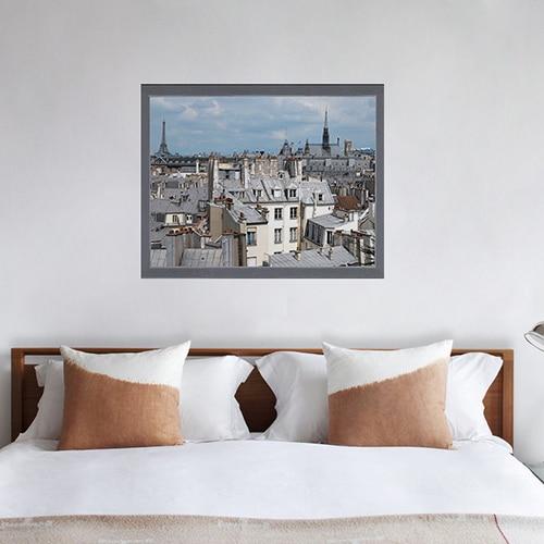 sticker Toits de Paris au-dessus d'un lit blanc et marron