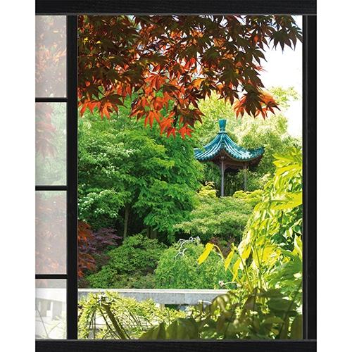 Sticker fenêtre trompe l'oeil Akita