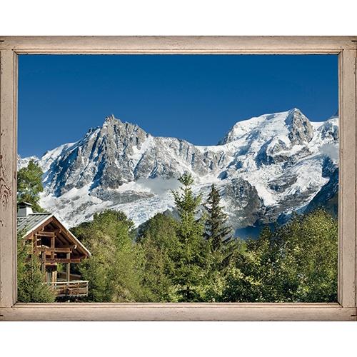 Sticker fenêtre trompe l'oeil Montagne Chatelet