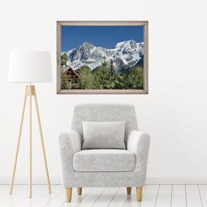 Sticker fenêtre Montagne Chatelet au-dessus d'un fauteuil gris et lampe design