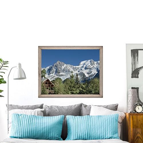 Sticker fenêtre Montagne Chatelet au-dessus d'un lit gris et bleu