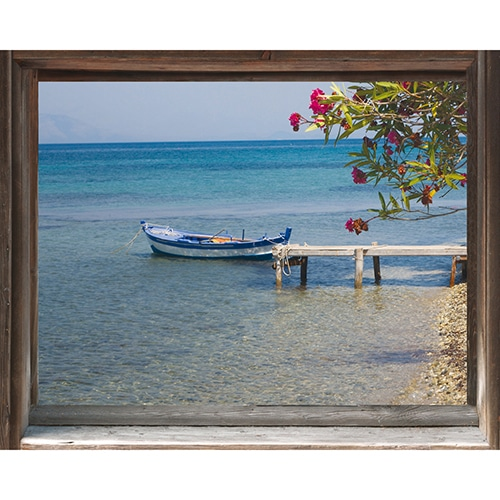 Autocollant fausse fenêtre adhésive avec vue sur un ponton marin... Les pieds dans l'eau.