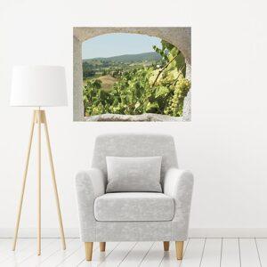 Offrez vous une vue sur les vignes et un paysage de Toscane avec la fausse fenêtre adhésive en trompe-l'oeil Toscane comme dans cette entrée lumineuse.