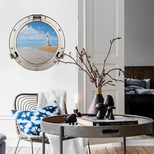Sticker trompe l'oeil Cordouan vue sur phare déco mis en ambiance dans un salon