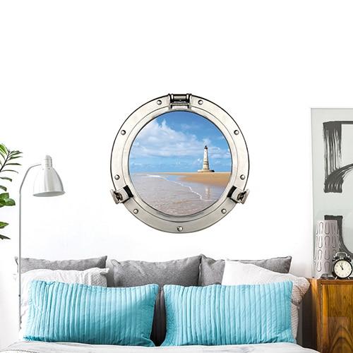 Sticker fenêtre trompe l'oeil Cordouan vue sur phare sur un mur blanc