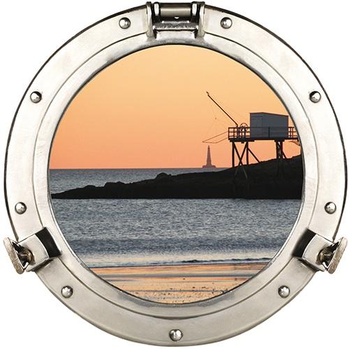 Adhésif mural faux hublot de bateau en trompe-l'oeil vue sur le port de pêche