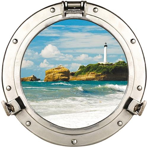 Déco marine - Faux hublot de bateau adhésif en trompe-l'oeil avec vue sur phare marin/