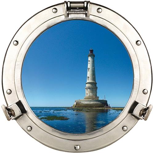 Adhésif hublot de bateau phare en mer - fausse fenêtre adhésive déco marine