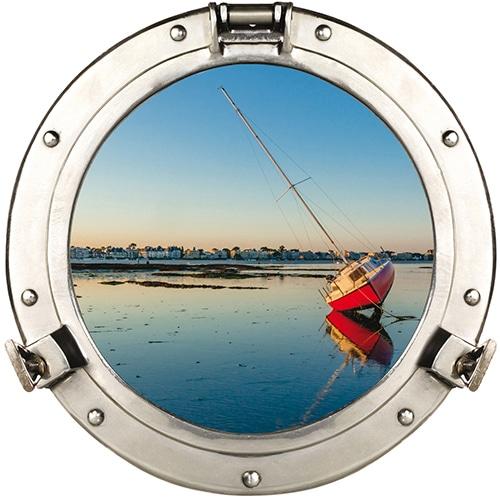 Sticker fenêtre hublot avec vue sur la mer