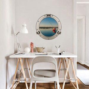 Sticker adhésif fausse fenêtre La Baule mis en ambiance dans un bureau comme un faux hublot de bateau