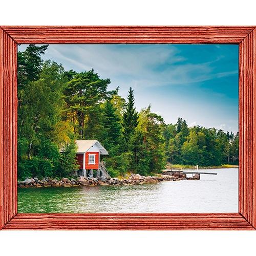 Sticker Fausse fenêtre adhésive en trompe l'oeil Laurentides avec cadre comme une fenêtre de cabane en bois.rouge à coller au mur