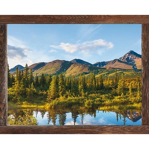Fausse fenêtre adhésive en trompe l'oeil offrant la vue sur un paysage Canadien en montagne.