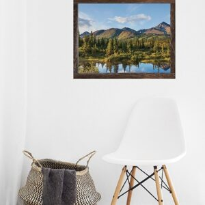 Trompe l'oeil sticker fausse fenetre représentant une vue sur un paysage du Canada.
