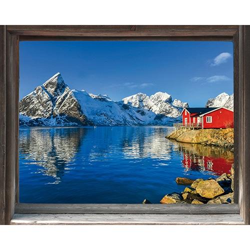 Déco nordique avec stickers fausse fenêtre en trompe-l'oeil pays scandinave.