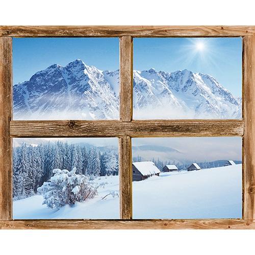 Adhésif fausse fenêtre en trompe l'oeil Cervin montagne pour uen déco chalet réussie.