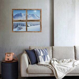 Ambiance déco montagne et chalet avec cette fausse fenêtre adhésive en trompe-l'oeil qui offre une vue sur le Cervin dans un joli salon cosy.
